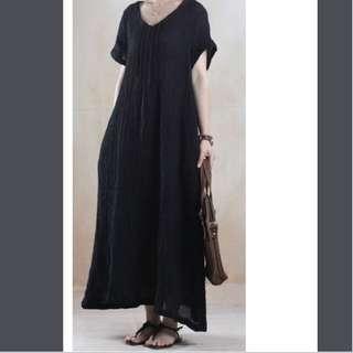 Brand new linen korean style l black maxi dress with pockets