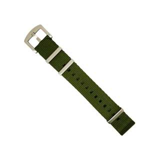 Seat Belt Nato Strap in Olive with Brushed Silver Buckle