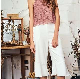 [CNY SALE] TCL Kiera Ruffles Culottes in white
