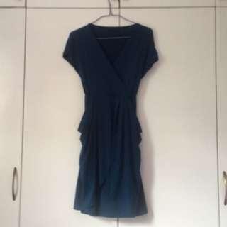 Teal Short Sleeve Cocktail Dress