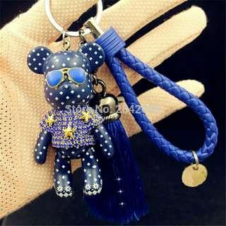 Luxury Leather Strap Tassel Bomgom Bear Keychains Handmade Rhinestone Crystal Popobe Gloomy Bear Key Ring Holder Car Key Chains
