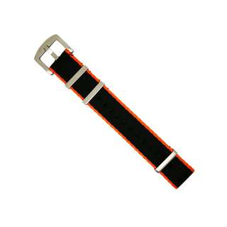 Seat Belt Nato Strap in Black w/ Orange Accent with Brushed Silver Buckle