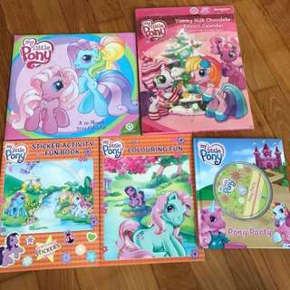 My Little Pony Gen 3 Sticker and Colouring Book, and Gen 3.5 2011 BNIP Calendar and Advent Dominoes Game x4