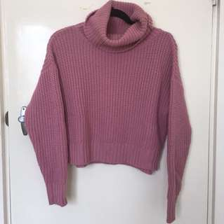 Super high turtle roll neck pink jumper sz s (6 8 10)