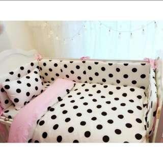北歐風嬰兒純棉床圍+床包