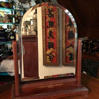 Vintage wooden Table Top mirror