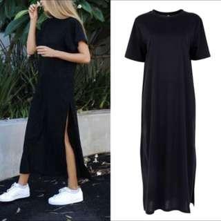 Long Black Dress with slit on both sides