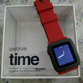 Pebble time smartwatch | red | ( for men / women )