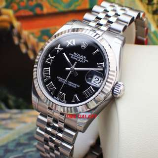 Brand New ROLEX Oyster Perpetual Lady 31mm Datejust Automatic Black Romans. Swiss made. Ref model : 178274