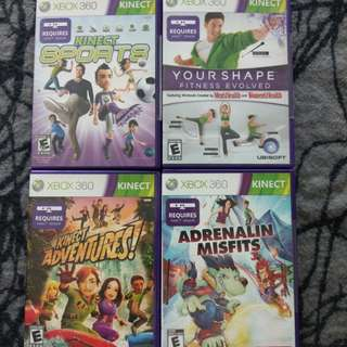 Xbox 360 Games Adrenalin Misfits / Kinect Adventures / Kinect Sports / Your Shape Fitness Evolved