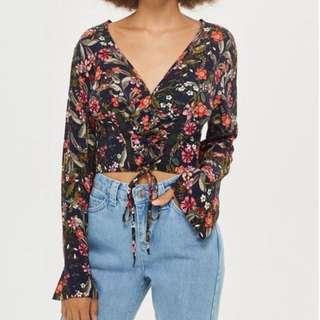 Long sleeve floral corset crop top