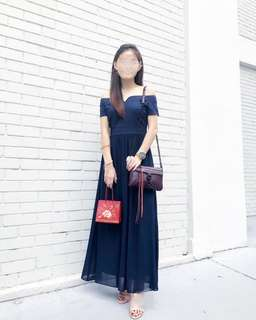 Love and bravery dress in navy blue