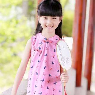[CNY Sale] Girls Cheongsam Dress-Cute Sparrow Design With Pom Pom
