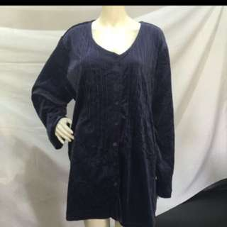 WOMAN WITHIN plus size dark blue long blouse 3-4xl
