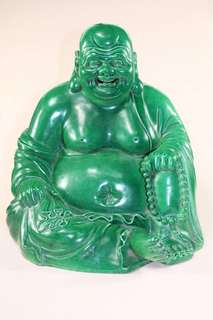 A green glazed budai statue with Zeng Longshen mark