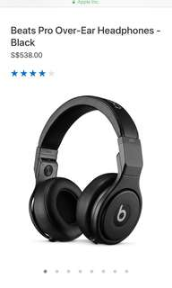 Beats Pro Over-Ear Headphone - Black (studio headphone)