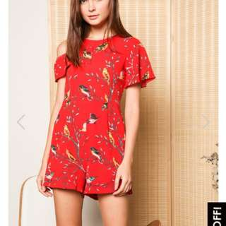 TSW Katherine bird romper on red