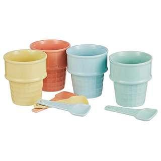 Set of 4 Ceramic Ice Cream Set