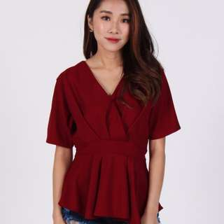 Maroon asymmetrical top The Dress Room