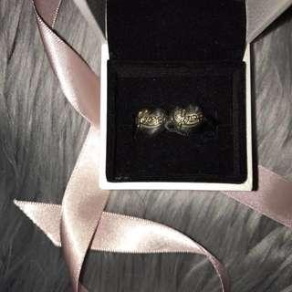 PANDORA hearts of love gold & silver clip x2