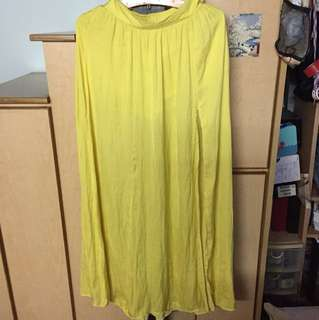 Yellow Maxi Skirt with Slit and inner shorts