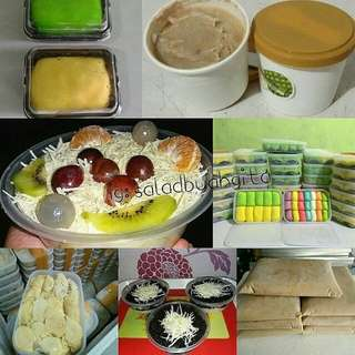 Salad buah, puding oreo cheese, pancake durian