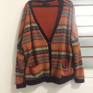 Aztec Print Orange Sweater
