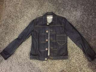 Initial unwashed denim jacket