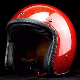 Red Glitter Motorcycle Helmet Open Face Three Button Snap Retro Vintage Vespa Scooter Cafe Racer Motorbike Leather Gloss Old School Harley Davidson