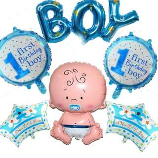Jumbo 6pcs Baby Boy Shower/ Birthday Balloon