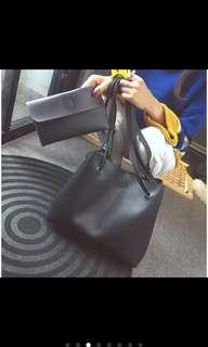 Korean 2in1 tite shoulder bag (Dark gray)