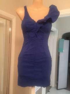 Paradisco Navy Blue One Shoulder Ruffle Bodycon Mini Dress Size 8