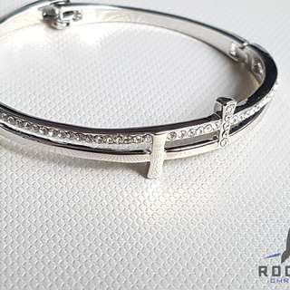 Silver Cross Bangle *In Stock