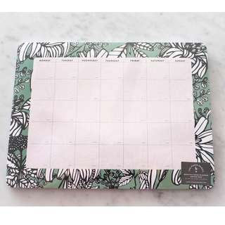 The Paper Bunny monthly desk planner (seafoam green)