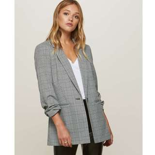 Ruched Sleeve Checked Blazer