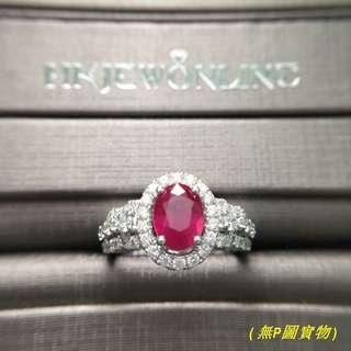 18K白金紅寶戒指