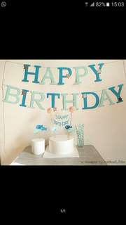 百日宴 裝飾 拉旗 氣球 藍色系 happy 100 days