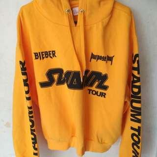 H&M x Justin Bieber stadium tour crop hoodie