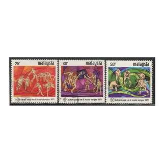 MALAYSIA 1971 6th South East Asian Peninsular Games, Kuala Lumpur set of 3V used SG #92-94 (A)