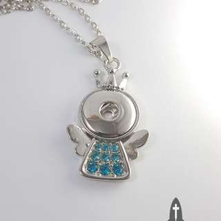 Blue Button Angel Necklace *In Stock