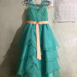 Teal w/ peach gown for flowergirl