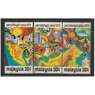 MALAYSIA 1972 Pacific Area Tourist Association Conference 1972 - PATA  set of 3V used SG #95-97 (A)