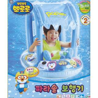 (Free Delivery) Pororo The Little Penguin Inflatable Baby Float Swim Ring Seat with Canopy Shade