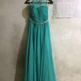 Teal gown for bridesmaid