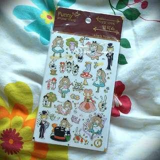 超可愛QQ韓系Alice in the wonderland sticker愛麗絲夢遊仙境貼紙
