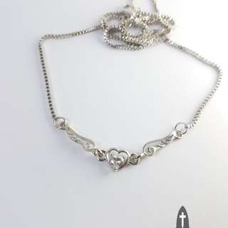 Crystal Gem Heart with Angel Wing Necklace *In Stock