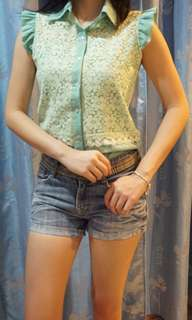Lady lace blouse in turquoise