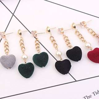 simple temperament velvet love earring