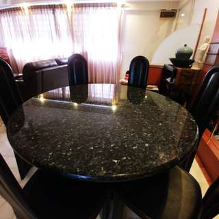 Full Granite Dining Table and Chair for sale