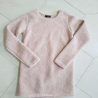 Winter Top faux sheep wool fur beige top